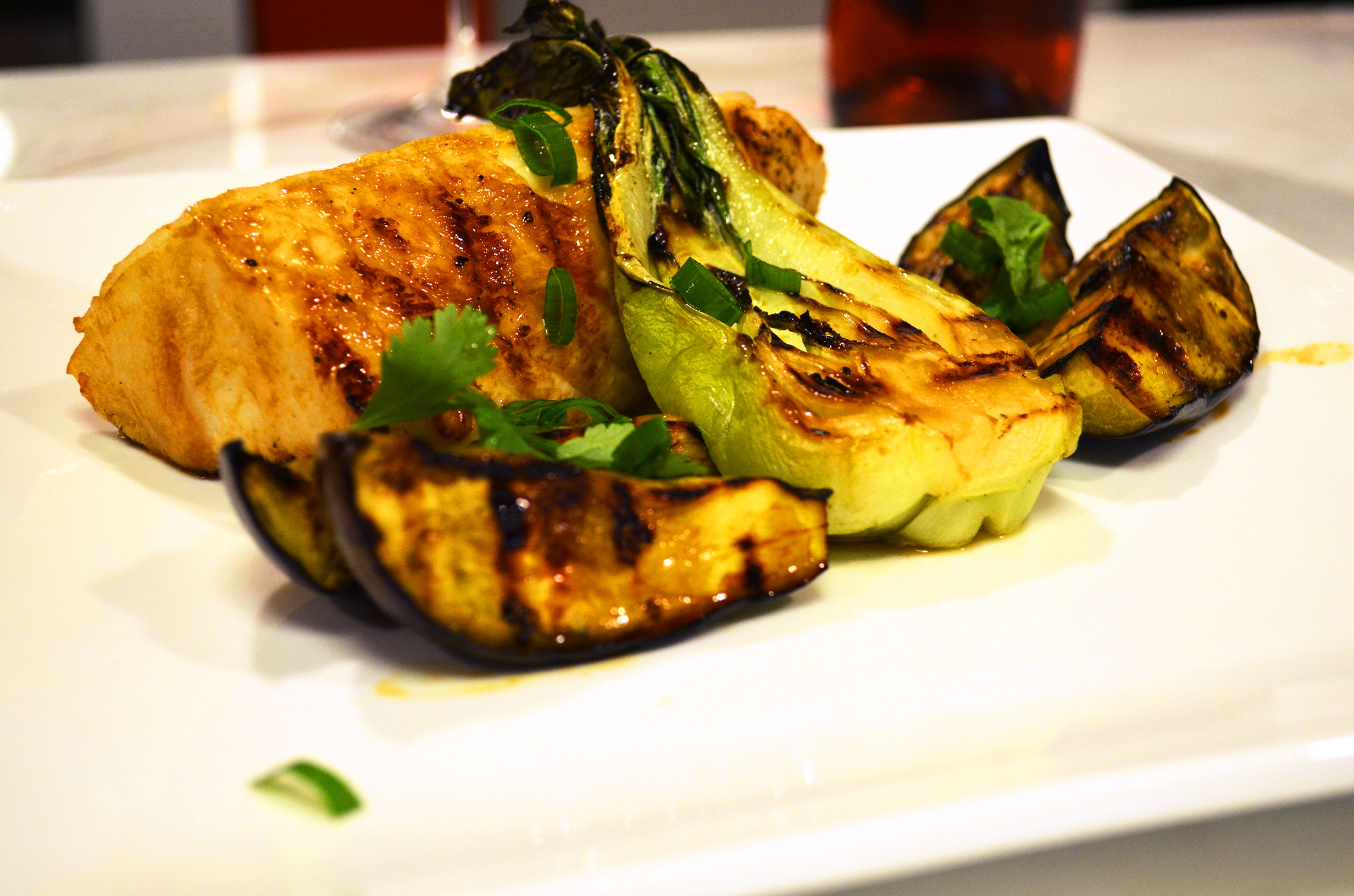 Grilled Halibut, Eggplant, And Baby Bok Choy With Korean Barbecue ...