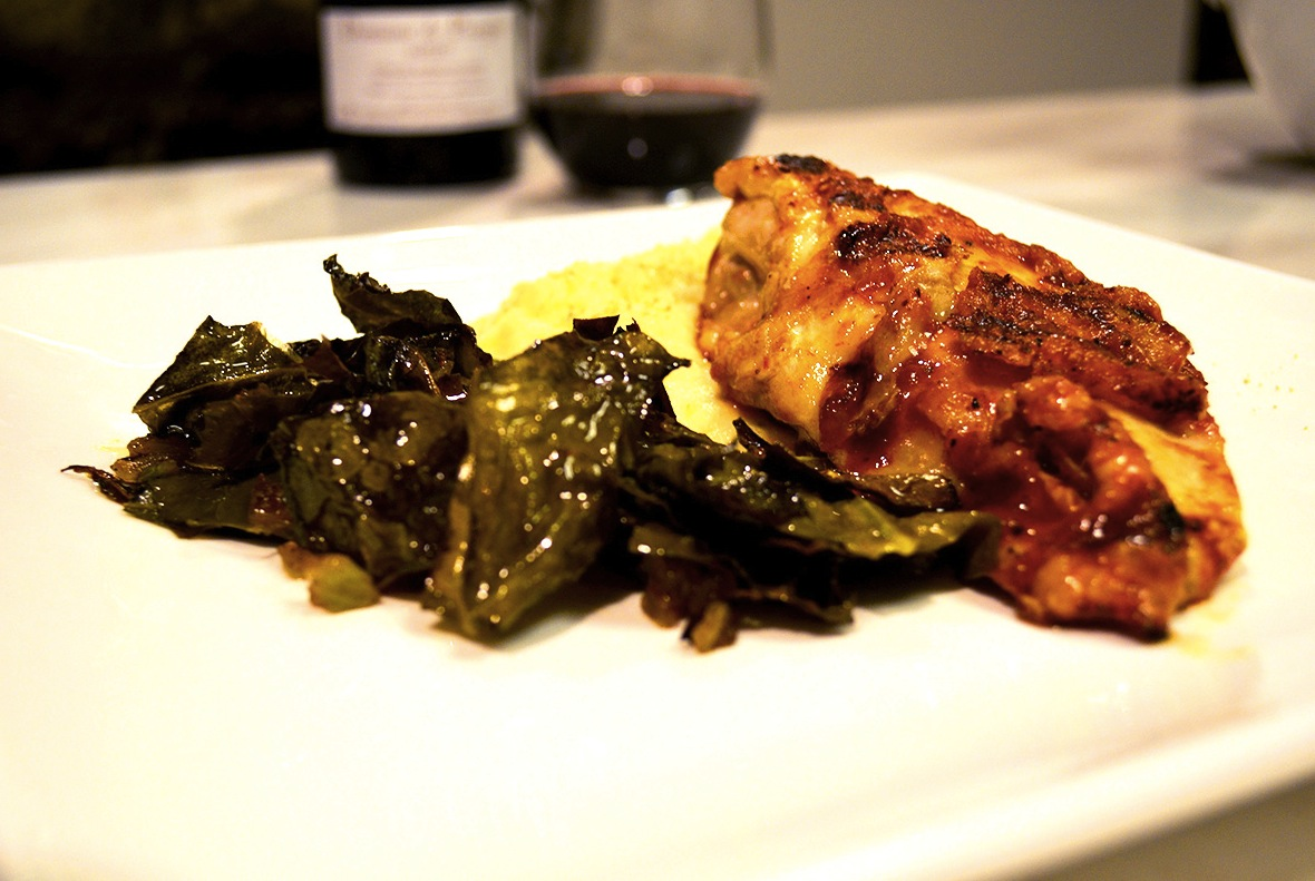 BBQ Chicken with Mashed Potatoes & Collard Greens