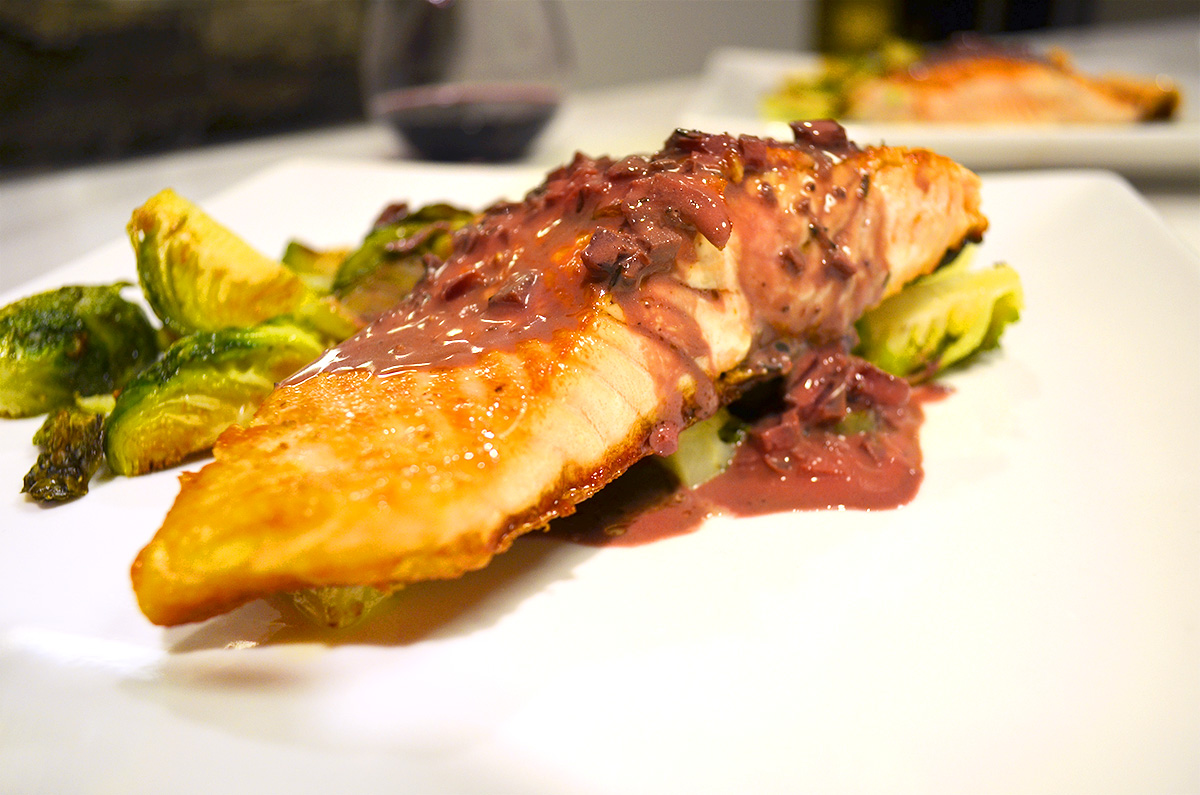 Salmon wth Balsamic Red Wine Sauce