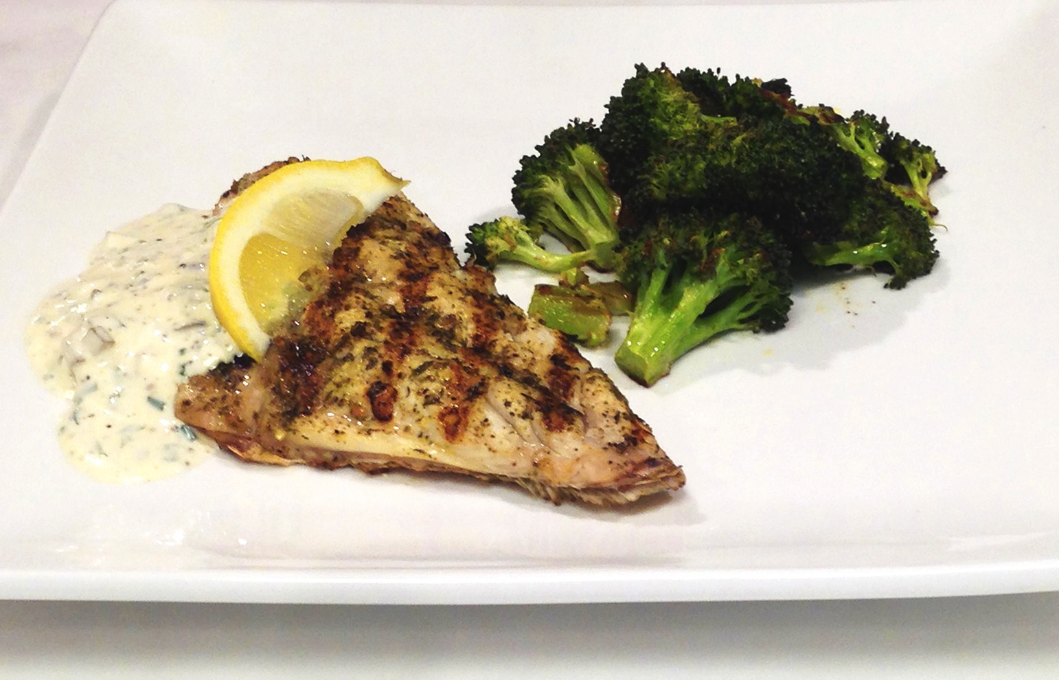 Grilled Snapper with Fresh Tartar Sauce