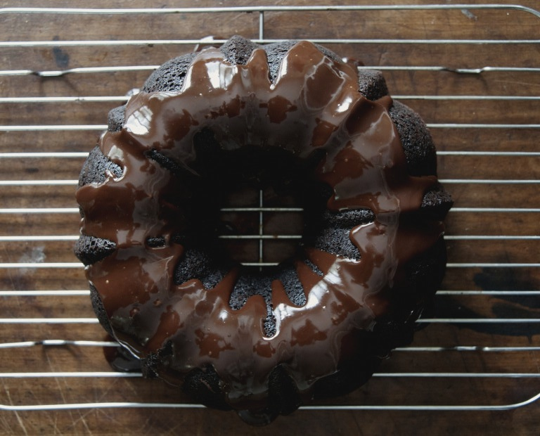 Old-Fashioned Chocolate Bundt Cake with Dark-Chocolate Ganache Glaze