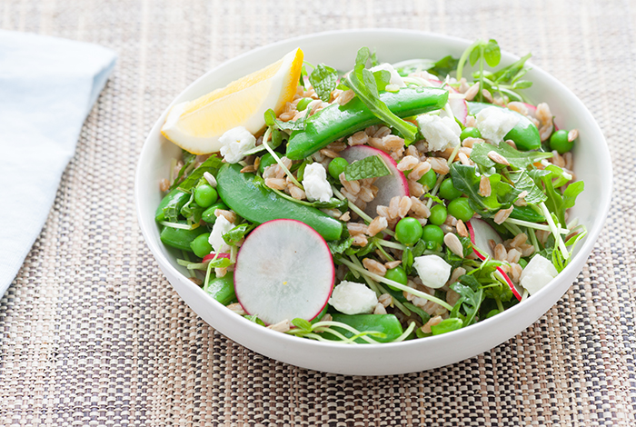 Three Pea Salad with Lemon Farro and Goat Cheese