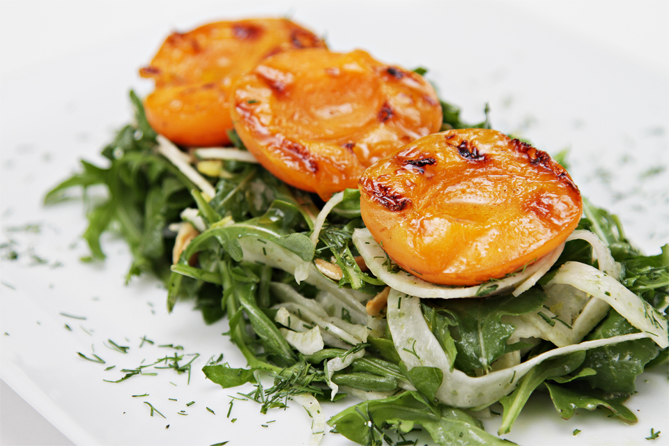 Arugula Salad with Fennel, Grilled Apricots & Roasted Almonds