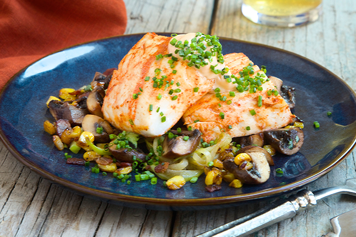 Halibut with Chayote with Bacon & Mushrooms