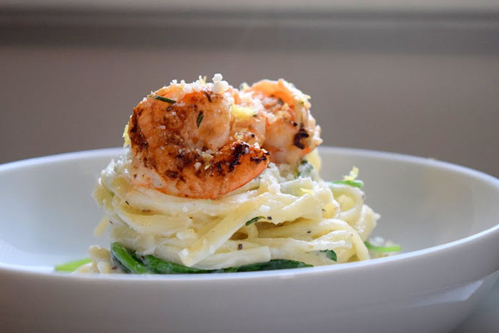 Creamy Cauliflower and Roasted Garlic Linguine with Lemony Shrimp