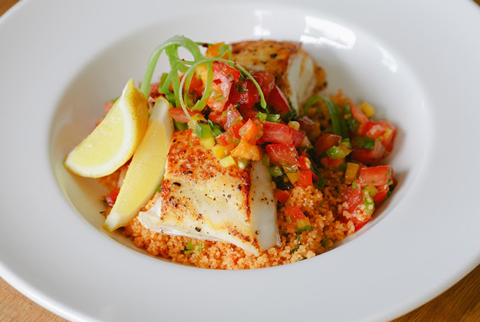 Pan Seared Halibut over Tabouli Salad with Heirloom Tomatoes