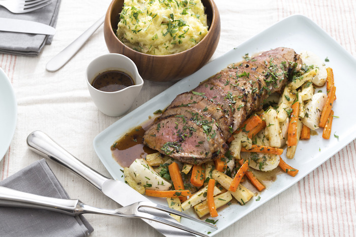Roast Beef with Smashed Potatoes, Roasted Root Vegetables Gravy