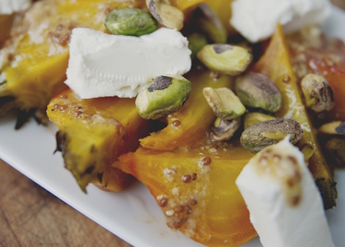 Roasted Beet Salad with Pistachios & Cheese