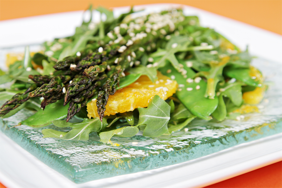 Roasted Asparagus Salad with Valencia Oranges & Ginger-Citrus Vinaigrette