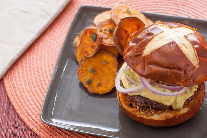 Short Rib Burgers on Pretzel Buns