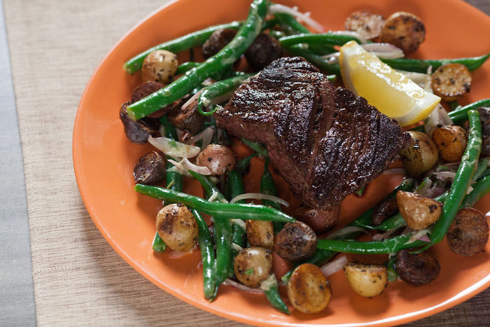 Seared Hanger Steak (with Rosemary Fingerling Potatoes & Green Bean Salad)
