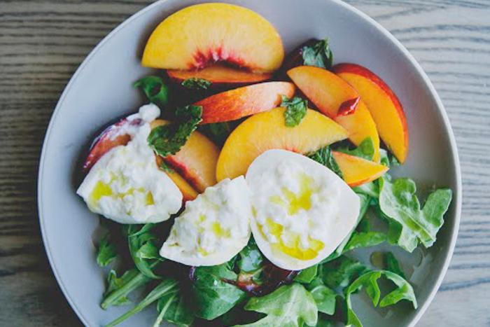 Burrata with Stone Fruit, Chili, & Mint
