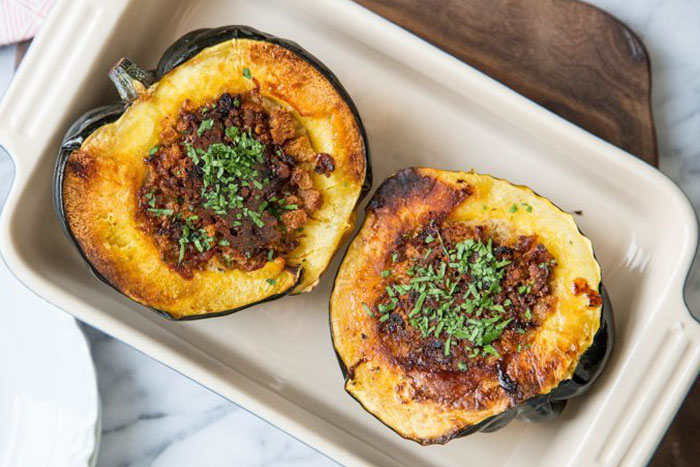 Acorn Squash Stuffed with Bread, Cheese, & Bacon