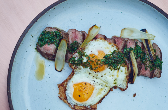 Steak and Eggs with Charred Onions and Chimichurri