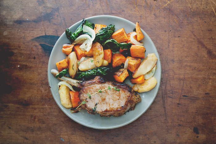 Epic Pork Chops with Roasted Apples, Yams, & Kale