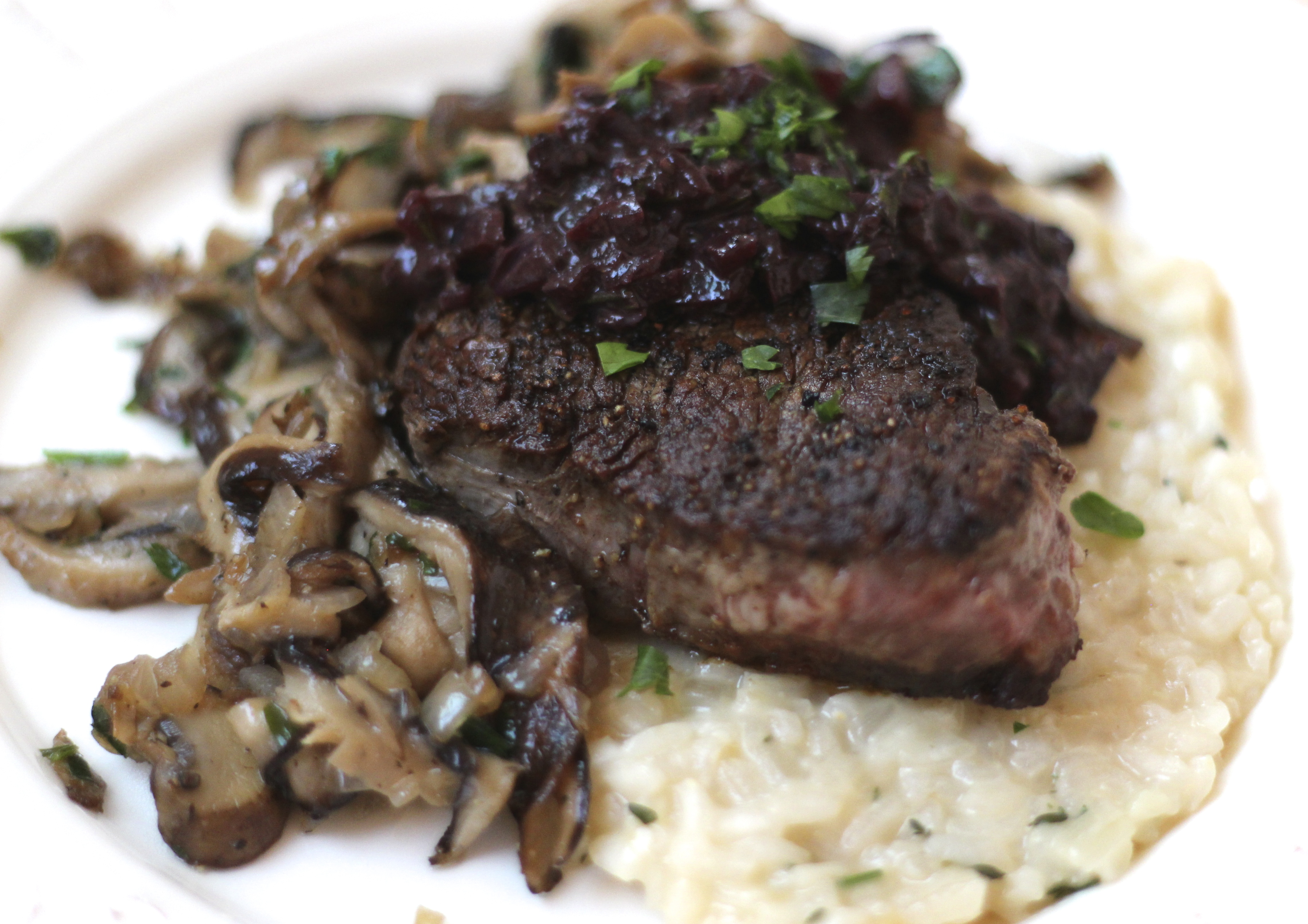 Pan Seared Filets With Red Wine Sauce & Wild Mushroom Ragout