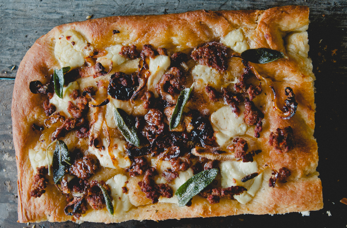 Honey and Sage Focaccia with Sausage and Ricotta