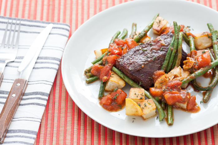 Hanger Steaks With Roasted Potatoes, Long Beans, & Tomato