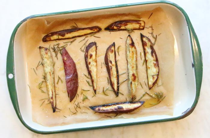 Roasted Japanese Sweet Potato Wedges