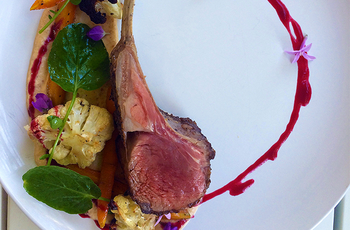 Pan Seared Rack of Lamb with Summer Vegetables