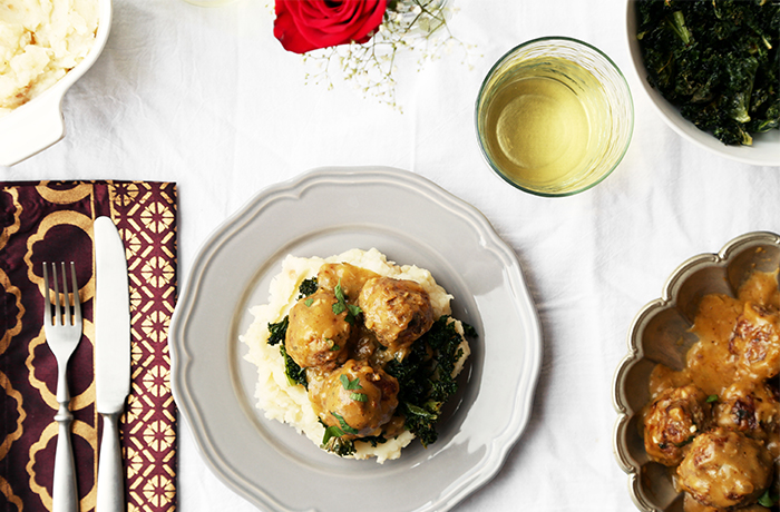 Braised Meatballs with Roasted Garlic Mashed Potatoes and Kale