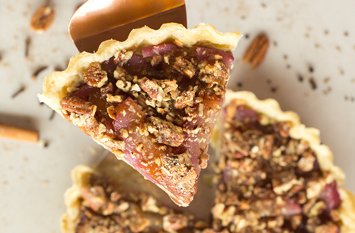 Poached Pear & Gorgonzola Tart with Candied Pecans