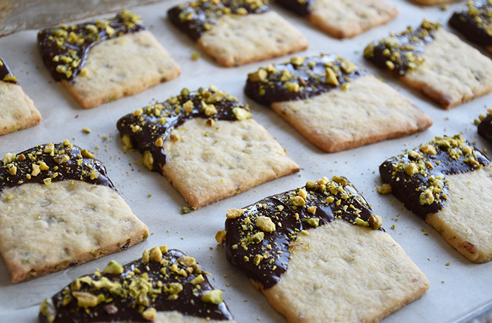 Chocolate-Dipped Pistachio Cookies
