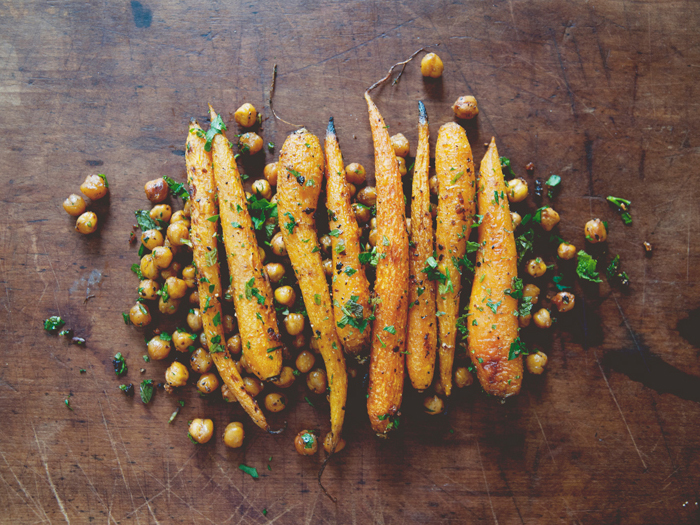 Harissa Roasted Carrots with Chickpeas & Herbs