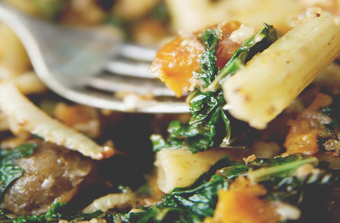 Roasted Vegetable Pasta with Sautéed Kale and Walnut Pesto
