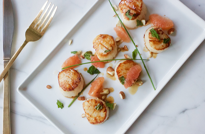 Seared Scallops with Grapefruit and Brown Butter