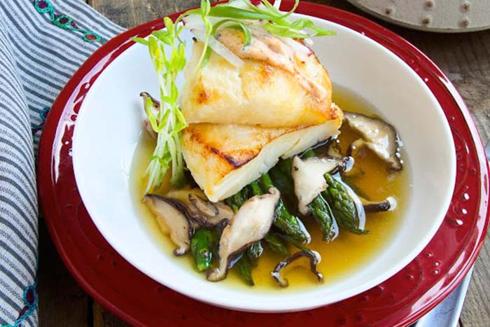 Miso-Glazed Sea Bass with Dashi Broth