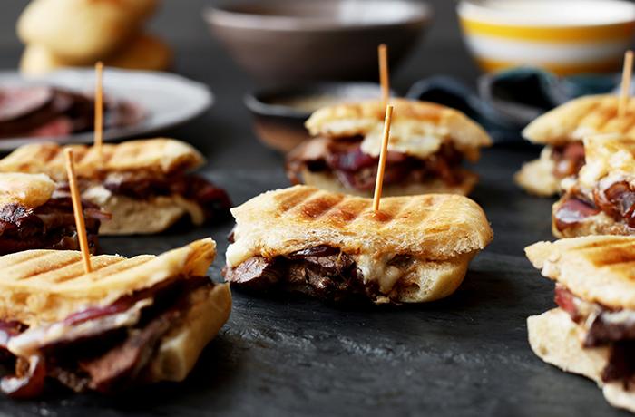 Steak and White Cheddar Panini Sliders