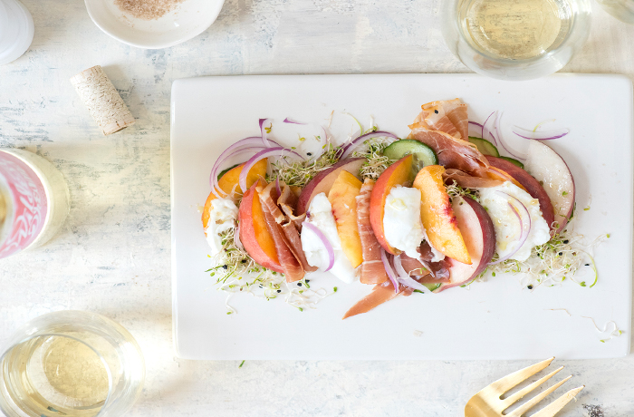 Peach, Burrata, and Prosciutto Salad